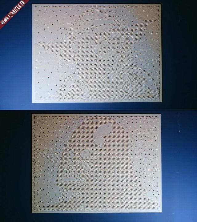 Un tableau constitu de 16000 lego r v le le visage de yoda ou dark vador en fonction de la - Visage de dark vador ...