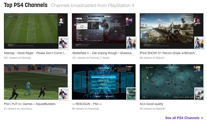 Top chaines PS4 sur Twitch