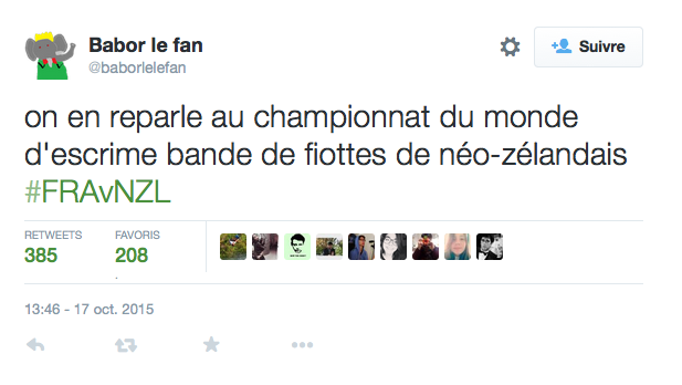 tweet defaite rugby france