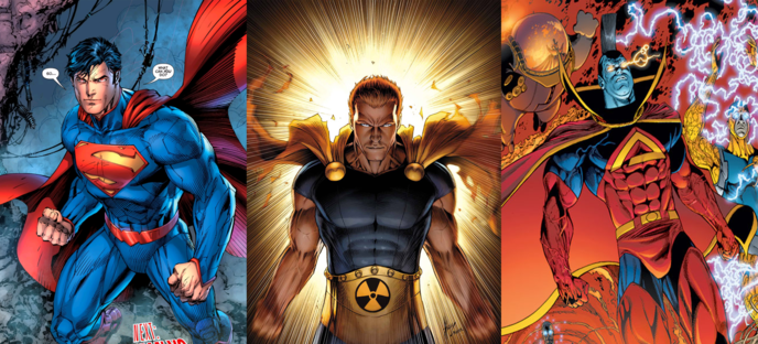 fccb321786 Superman (DC 1938), Hyperion (Marvel : 1969) et Gladiator (Marvel 1977)
