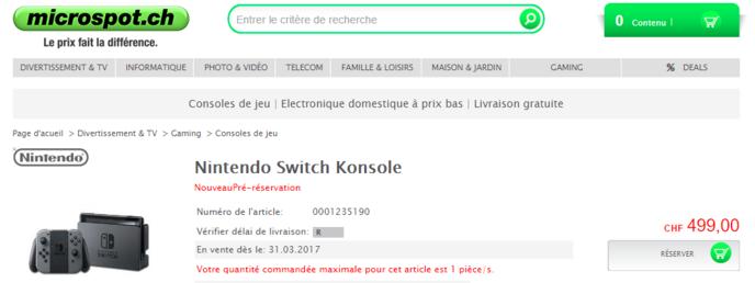 nintendo switch une boutique suisse donne le prix de la console. Black Bedroom Furniture Sets. Home Design Ideas