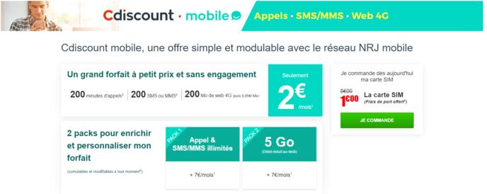 cdiscount mobile veut concurrencer free mobile avec un forfait mobile 2 euros. Black Bedroom Furniture Sets. Home Design Ideas