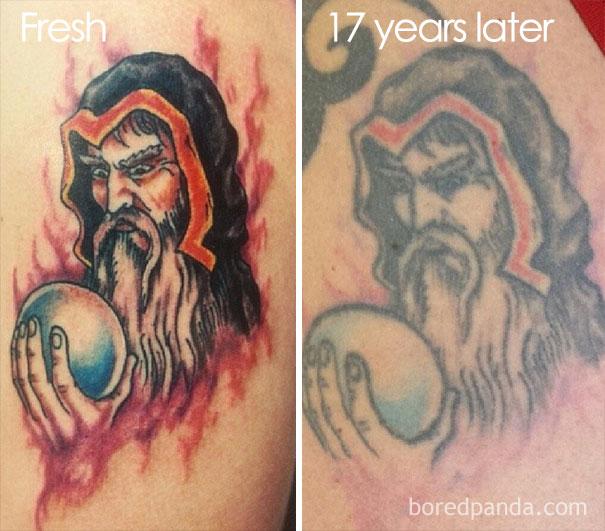 Avant apr s quand les tatouages prennent de l 39 ge for Never fade tattoo