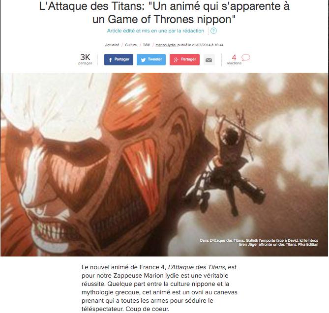 Article Express - Attaque des Titans