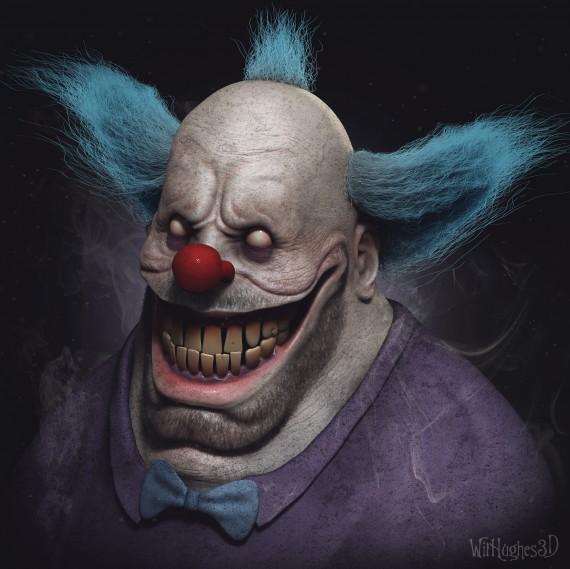 Les portraits de personnages de dessins anim s creepy de will hughes - Simpson le clown ...