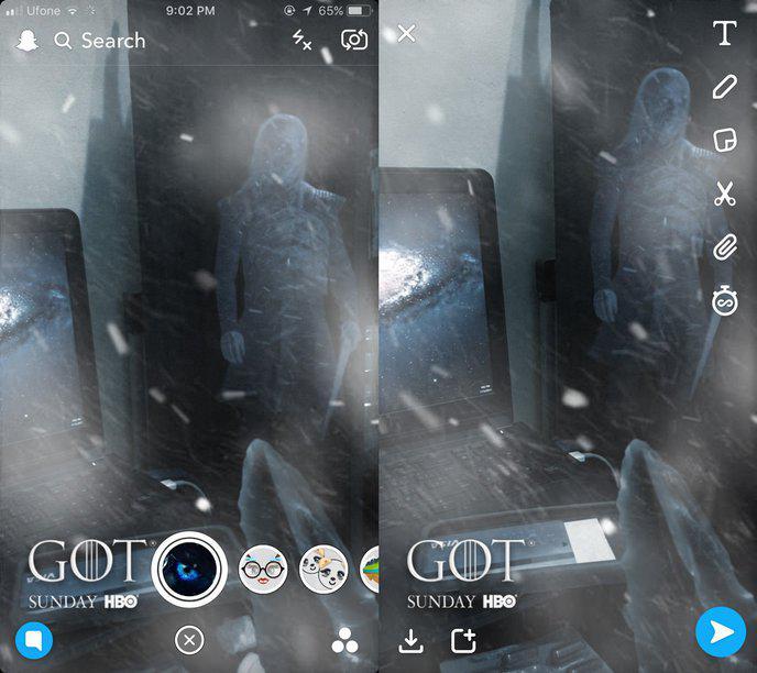Des filtres sur Facebook et Snapchat pour devenir le Roi de la Nuit — Game of Thrones