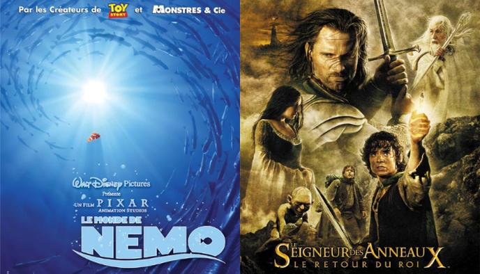 affiche Le Monde de Nemo Le seigneur des anneaux Le retour du roi