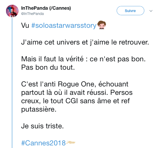 tweets reactions solo cannes 15