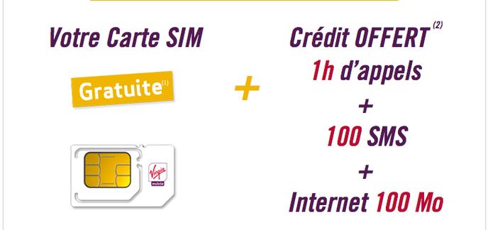 Bon Plan Carte Sim Virgin Mobile Gratuite Avec 1h 100 Sms Et 100 Mo