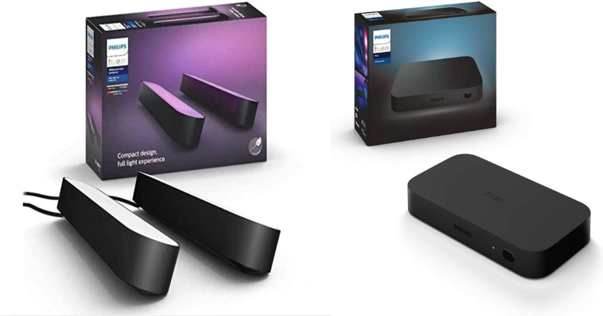Grosse promo sur ce pack boîtier Philips Hue Play HDMI Sync Box et 2 lampes connectées Philips Hue Play