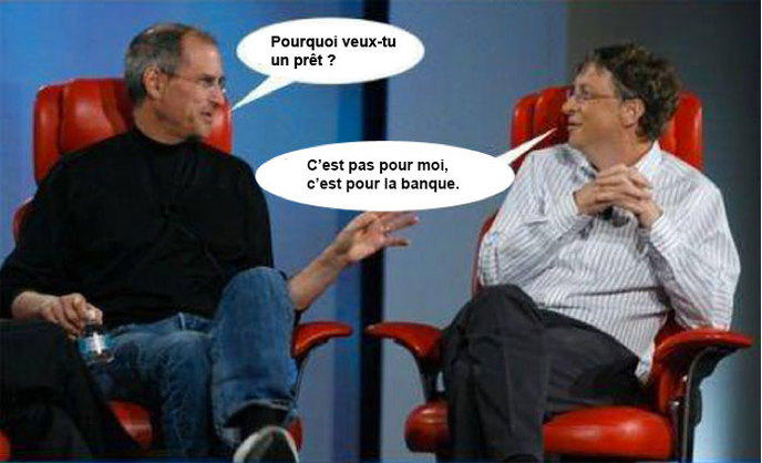 le meilleur des discussions entre steve jobs et bill gates. Black Bedroom Furniture Sets. Home Design Ideas