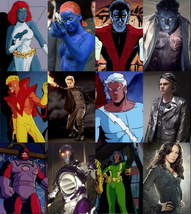 Les Differences Visuelles Entre Les X Men En Cartoon Et Au Cinema