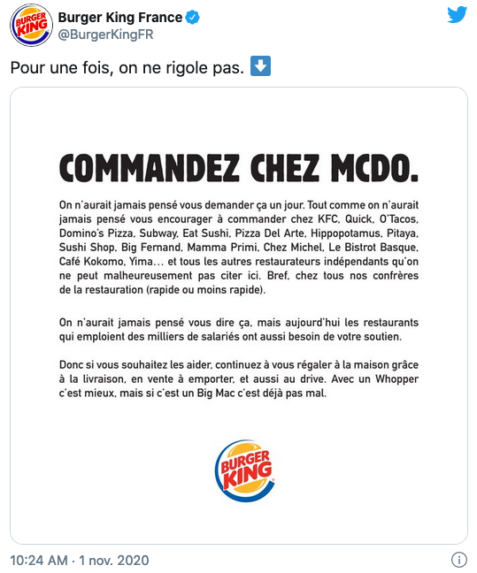 Reconfinement : Burger King incite ses clients à «commander chez McDo»
