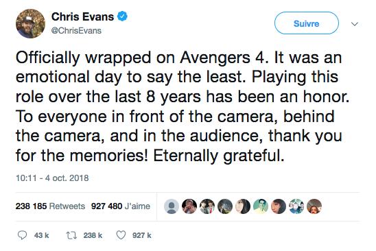 Chris Evans accroche son bouclier de Capitaine America