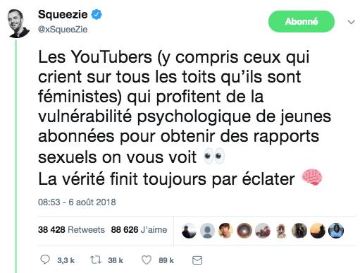 Squeezie dénonce un scandale sexuel sur Twitter — BalanceTonYoutubeur