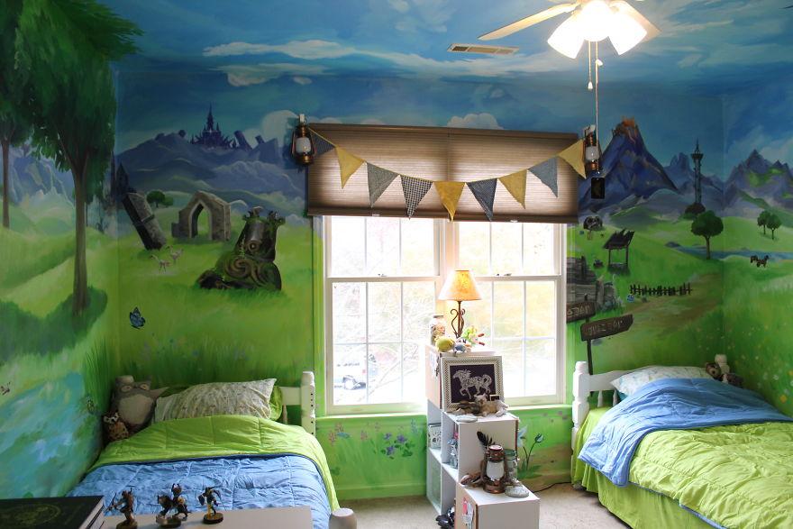 Une artiste repeint la chambre de ses deux petites sœurs à l ...