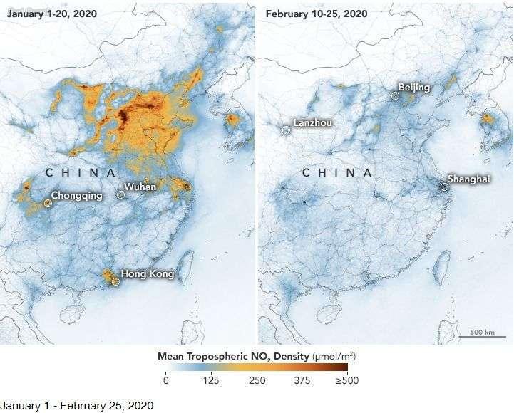 Chute importante de la pollution en Chine — Coronavirus